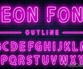 Purple neon alphabet font design vector 03