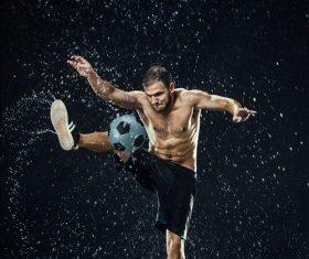 Rain football show Stock Photo 04