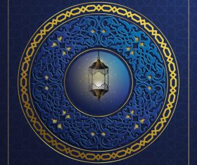 Ramadan kareem decor blue backgrounds vectors 01