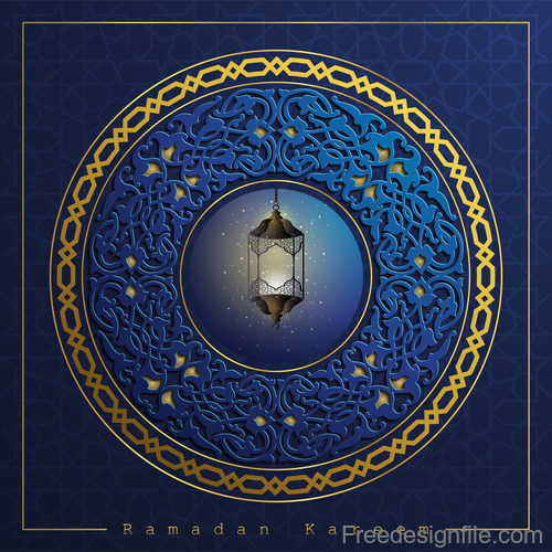Ramadan kareem decor blue backgrounds vectors 01