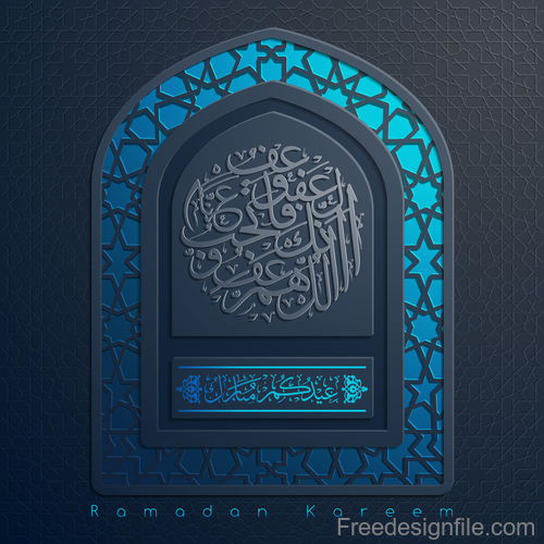 Ramadan kareem decor blue backgrounds vectors 02