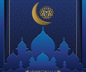 Ramadan kareem decor blue backgrounds vectors 03