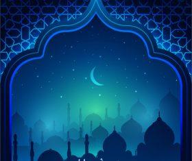 Ramadan kareem decor blue backgrounds vectors 05