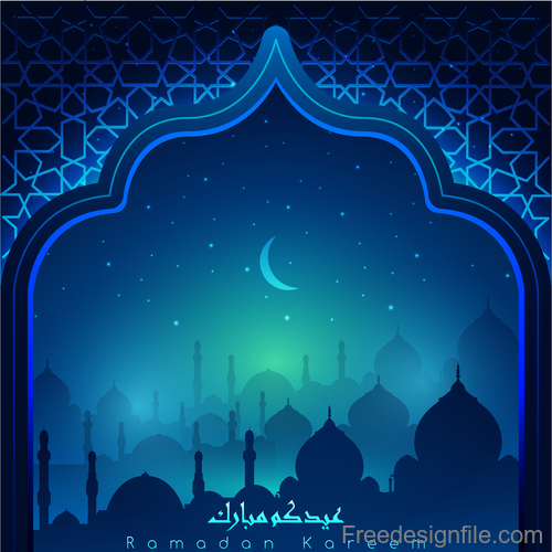Ramadan kareem decor blue backgrounds vectors 05
