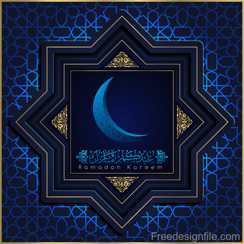 Ramadan kareem decor blue backgrounds vectors 06
