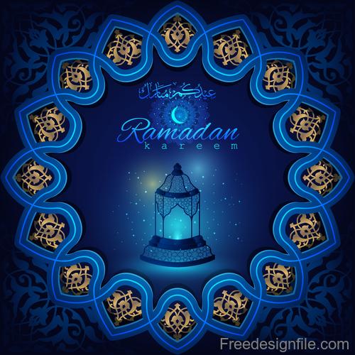 Ramadan kareem decor blue backgrounds vectors 07