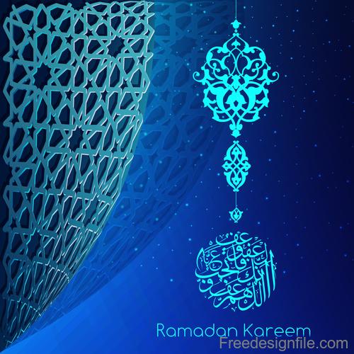 Ramadan kareem decor blue backgrounds vectors 08