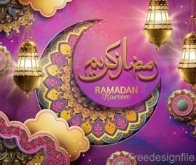 Ramadan kareem golden decor backgrounds vector 01