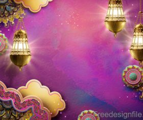 Ramadan kareem golden decor backgrounds vector 02