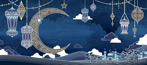 Ramadan kareem golden decor backgrounds vector 06