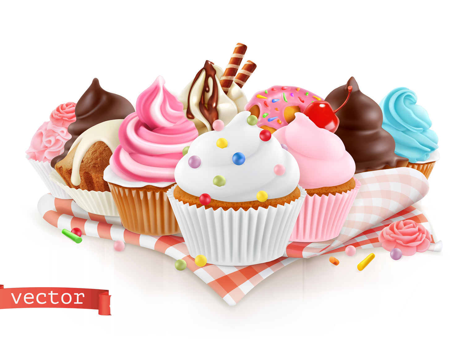 Realistic Ice Cream Cup Cake Vector