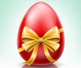 Red Easter Egg With Yellow Bow vector design
