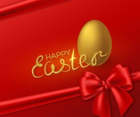 Red easter card with golden egg vector design