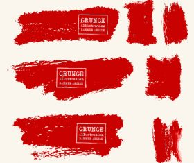 Red grunge ink splashes and stains vector 01