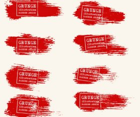 Red grunge ink splashes and stains vector 02