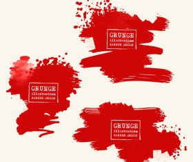 Red grunge ink splashes and stains vector 06