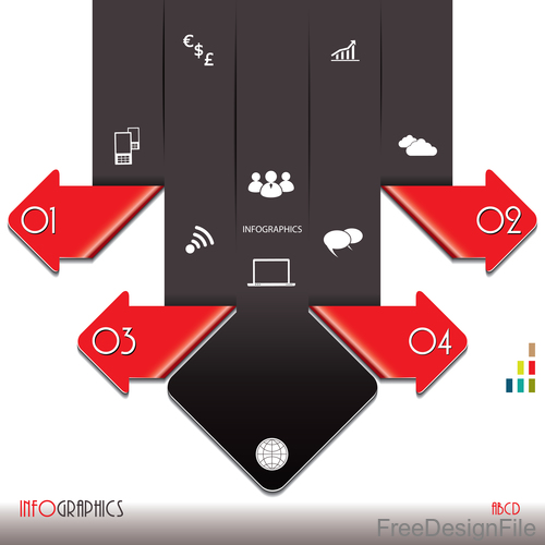 Red with black options infographic vectors 01