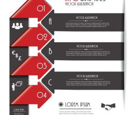 Red with black options infographic vectors 04
