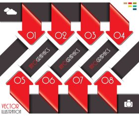 Red with black options infographic vectors 05