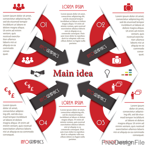 Red with black options infographic vectors 09