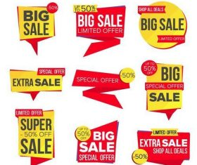 Red with yellow  big sale labels vector