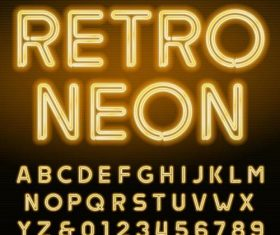 Retor neon alphabet with number vector