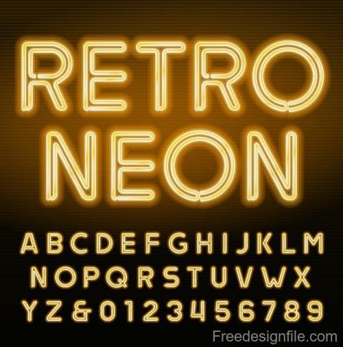 Retor neon alphabet with number vector