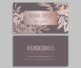Retro flower with business card design vector 04