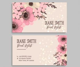 Retro flower with business card design vector 05