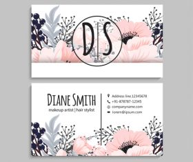 Retro flower with business card design vector 06