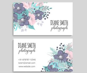 Retro flower with business card design vector 07