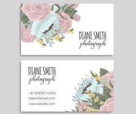 Retro flower with business card design vector 02
