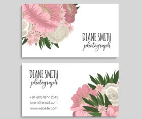 Retro flower with business card design vector 01