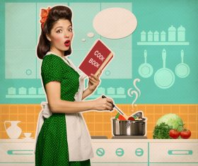 Retro woman in the kitchen Stock Photo 01