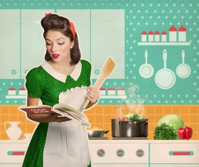 Retro woman in the kitchen Stock Photo 02