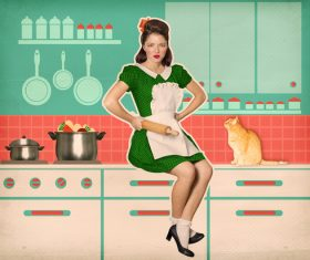 Retro woman in the kitchen Stock Photo 03
