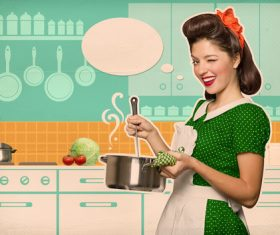 Retro woman in the kitchen Stock Photo 04