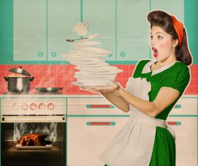 Retro woman in the kitchen Stock Photo 05