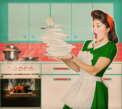Retro Woman In Kitchen: Retro Woman In The Kitchen Stock Photo 05 Free Download
