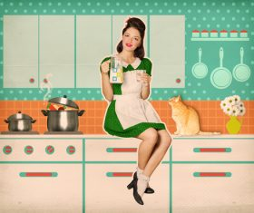Retro woman in the kitchen Stock Photo 06