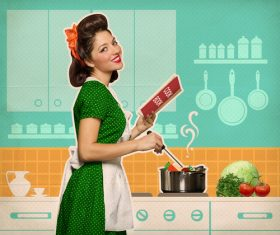Retro woman in the kitchen Stock Photo 07