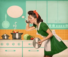 Retro woman in the kitchen Stock Photo 08
