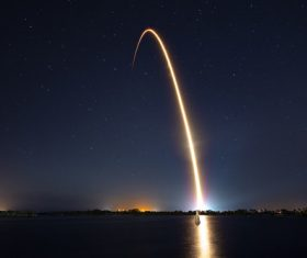 Rocket lifted off at night Stock Photo