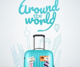 Round the world travel vectors design