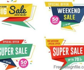 Sale with discount labels vector