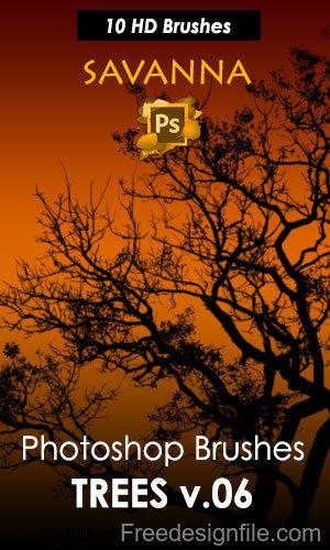 Savanna Trees HD Photoshop Brushes