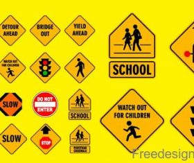 School traffic warning signs design vector