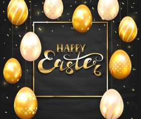 Set of golden Easter eggs on black chalkboard background vector