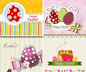 Set of vintage easter card design vector 01