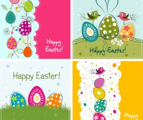 Set of vintage easter card design vector 02
